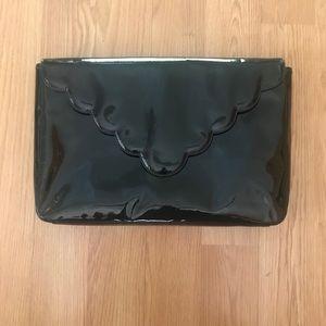 Lauren Merkin black patent scalloped edge laptop